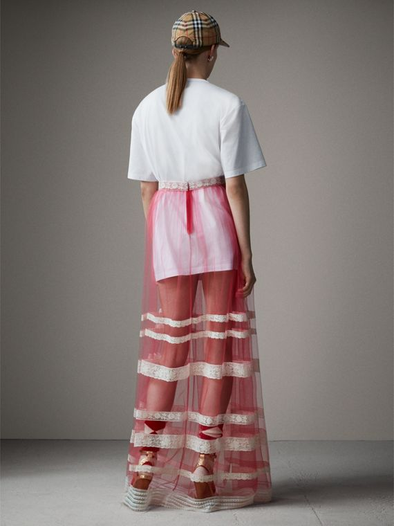 Floor-length English Lace Trim Tulle Skirt in Bright Pink - Women | Burberry Singapore - cell image 2