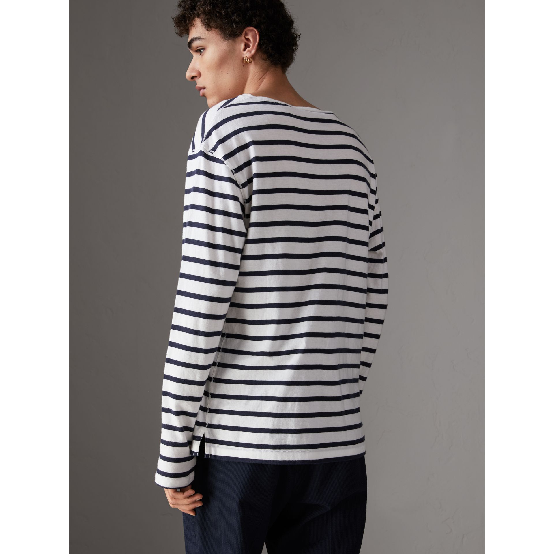 Breton Stripe Cotton Jersey Top in White/blue - Men | Burberry - gallery image 2