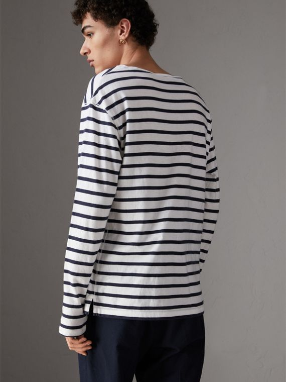 Breton Stripe Cotton Jersey Top in White/blue - Men | Burberry - cell image 2