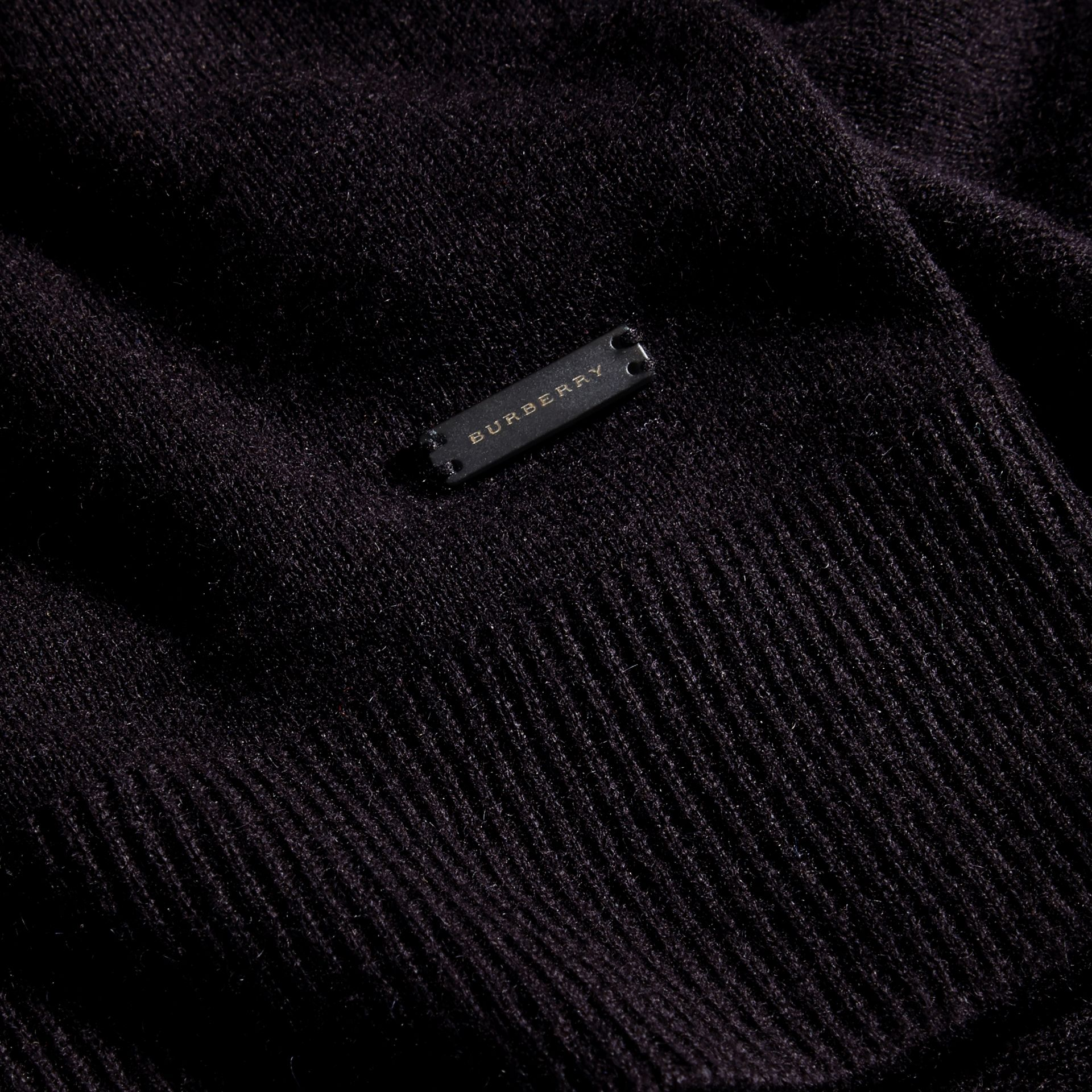 Black Cashmere V-neck Sweater Black - gallery image 2