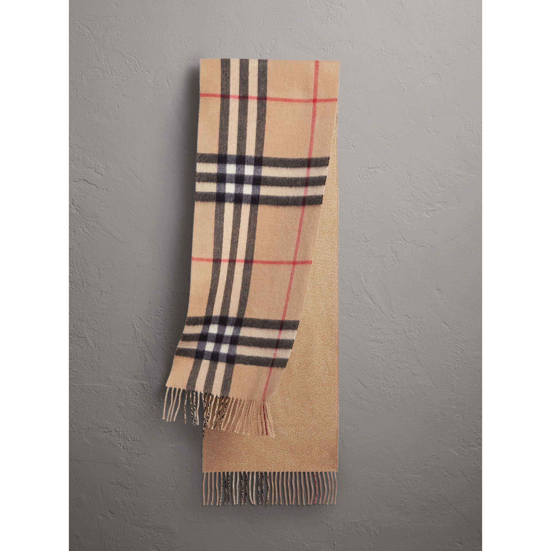 Reversible Metallic Check Cashmere Scarf in Camel | Burberry United States - gallery image 0