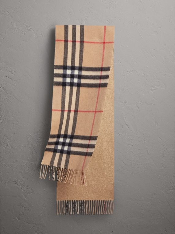 Reversible Metallic Check Cashmere Scarf in Camel