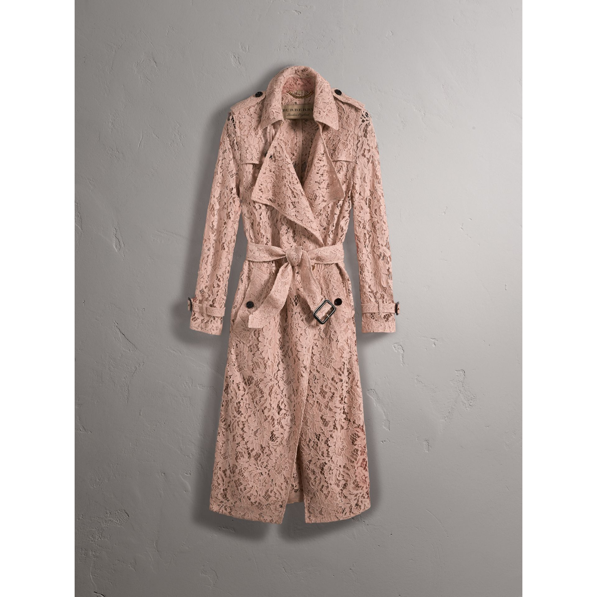 Macramé Lace Trench Coat in Pale Pink - Women | Burberry Singapore - gallery image 4