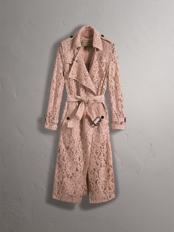 Macramé Lace Trench Coat in Pale Pink - Women | Burberry United Kingdom - cell image 3