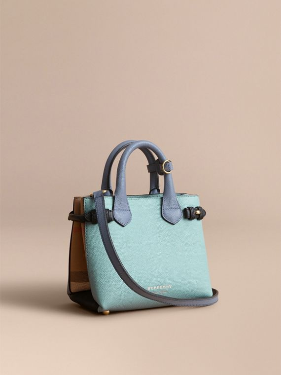 The Baby Banner in Two-tone Leather and House Check in Pale Opal/slate Blue