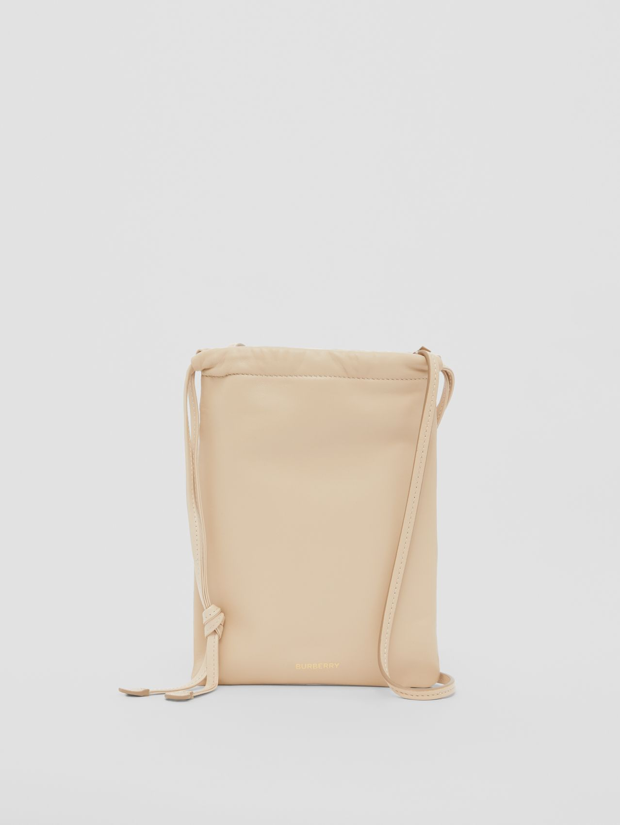 Small Lambskin Drawcord Pouch in Sesame