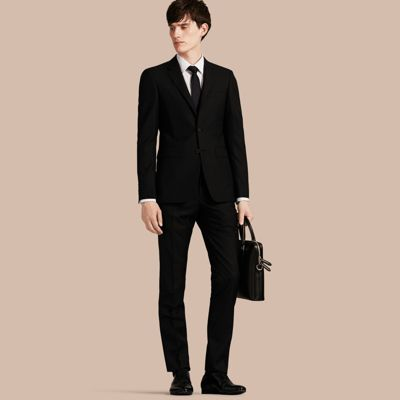 Slim Fit Wool Part-canvas Suit in Black | Burberry