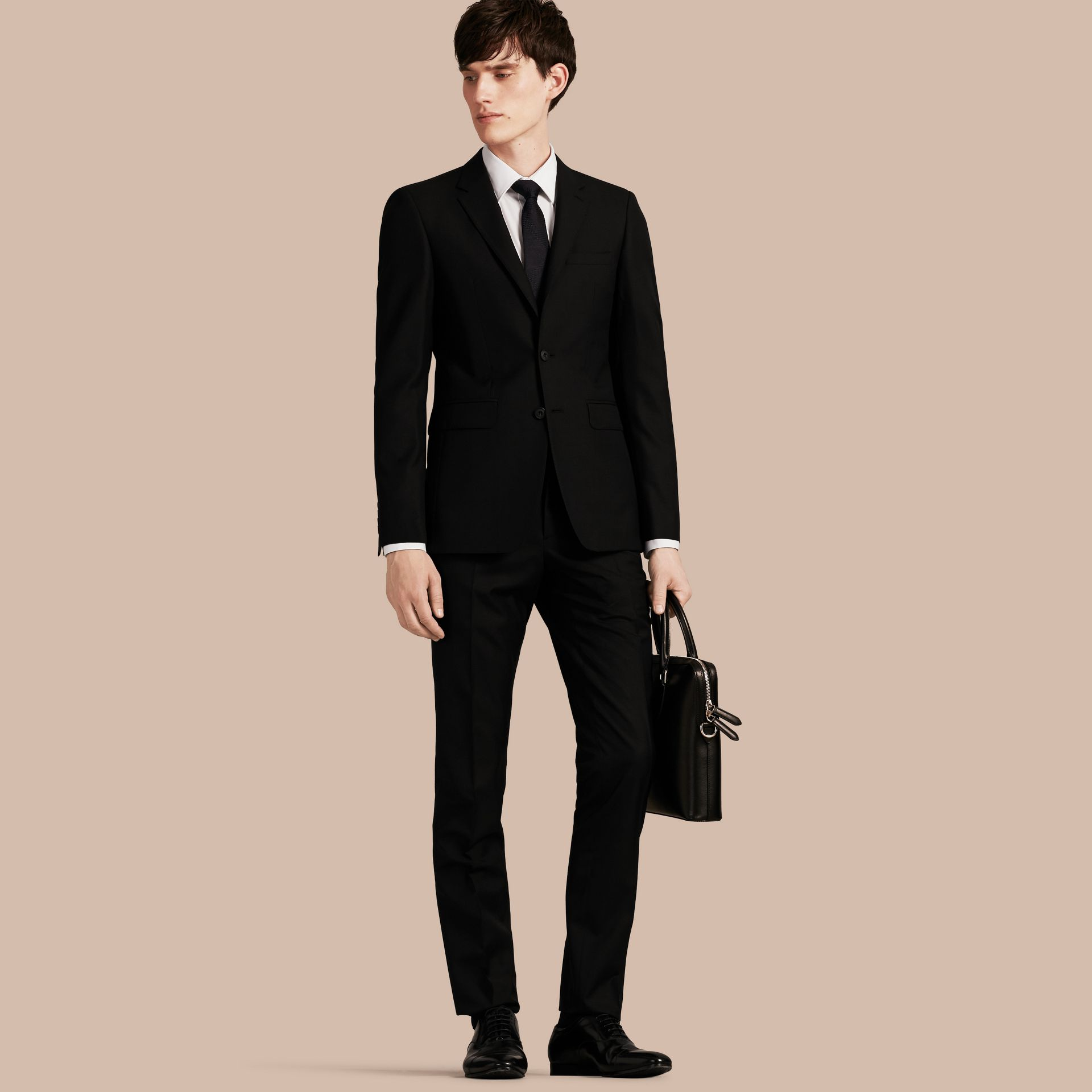 Slim Fit Wool Part-canvas Suit Black - gallery image 1