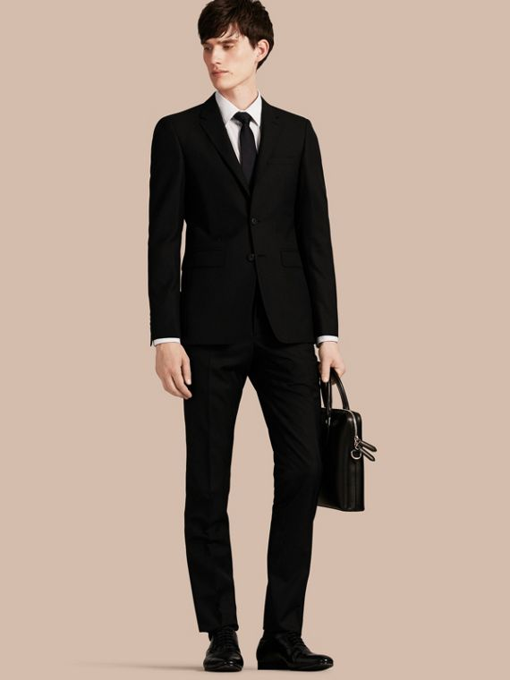 Slim Fit Wool Part-canvas Suit Black
