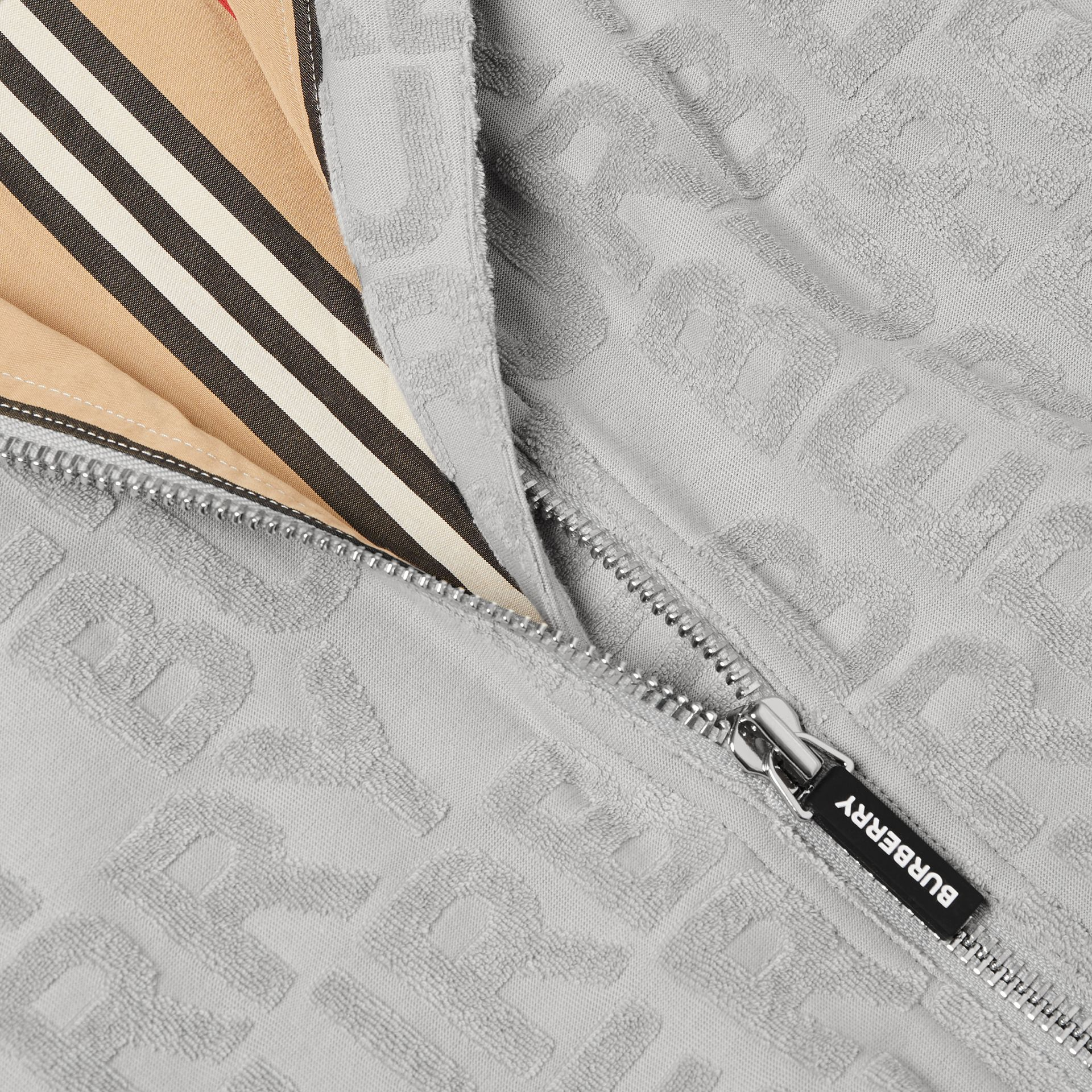 Logo Towelling Jacket in Pale Grey | Burberry - gallery image 1