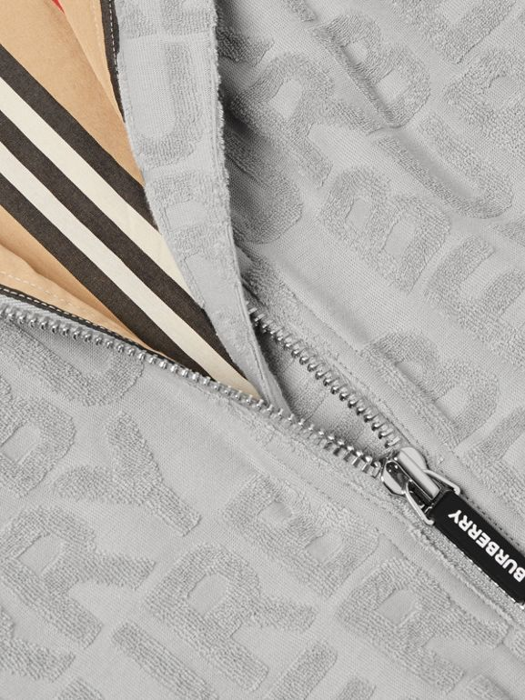 Logo Towelling Jacket in Pale Grey | Burberry - cell image 1
