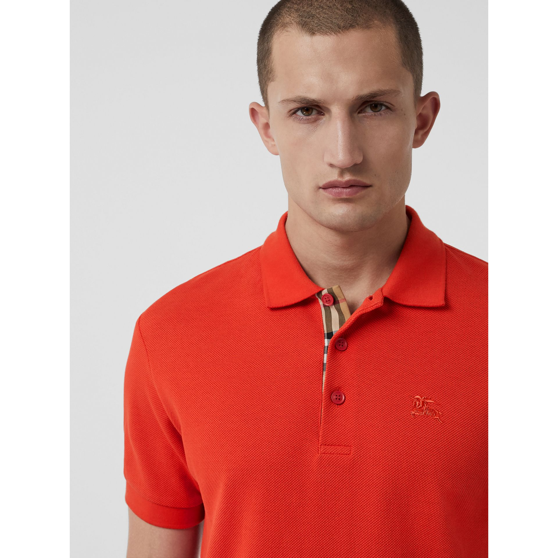 Check Trim Cotton Polo Shirt in Bright Red - Men | Burberry - gallery image 1