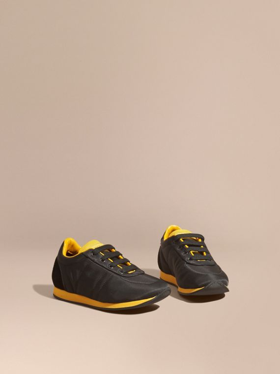 Colour Block Satin and Leather Sneakers Black/burnt Yellow