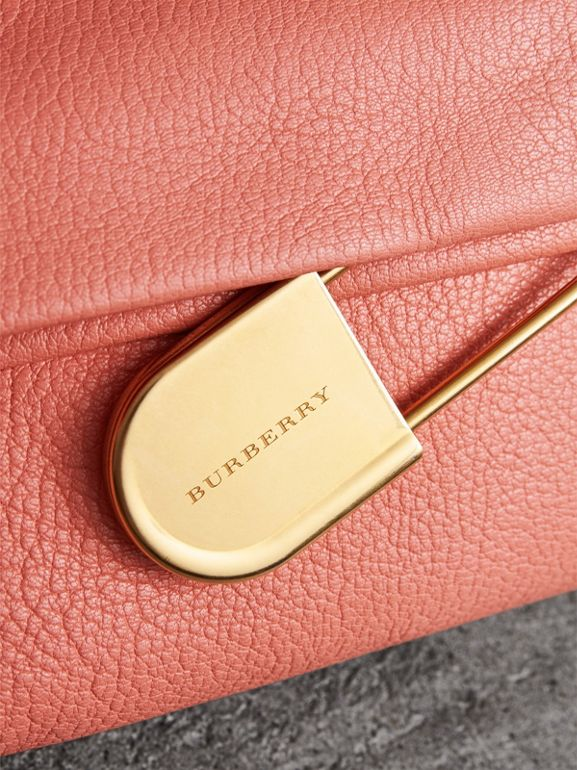 The Medium Pin Clutch in Leather in Bright Coral Pink - Women | Burberry United States - cell image 1
