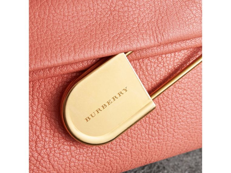 The Medium Pin Clutch in Leather in Bright Coral Pink - Women | Burberry United Kingdom - cell image 1