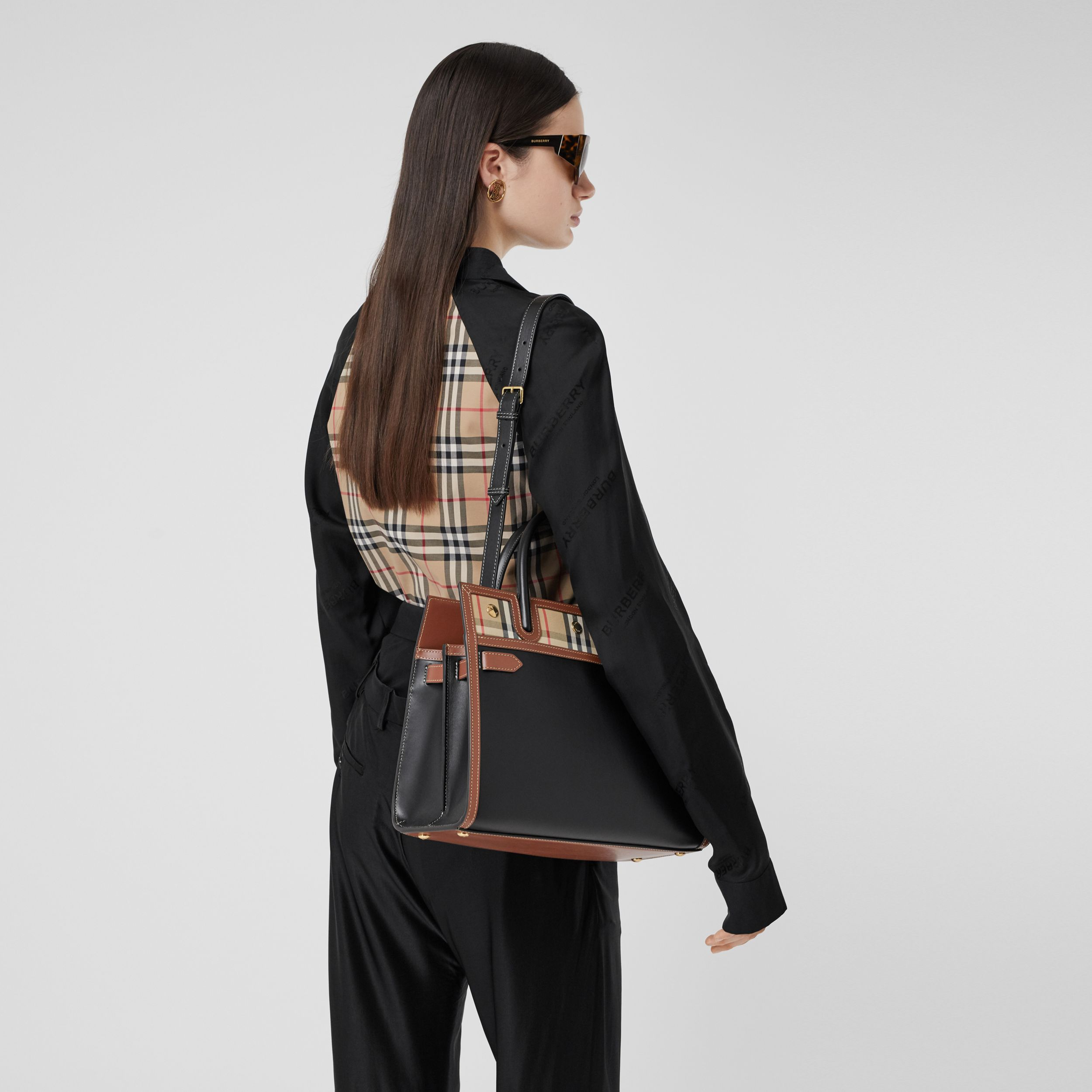 Small Leather and Vintage Check Two-handle Title Bag in Black | Burberry - 3