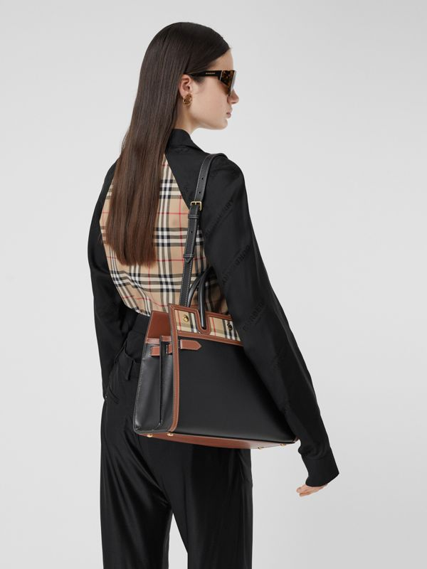 Small Leather and Vintage Check Two-handle Title Bag in Black - Women | Burberry - cell image 2