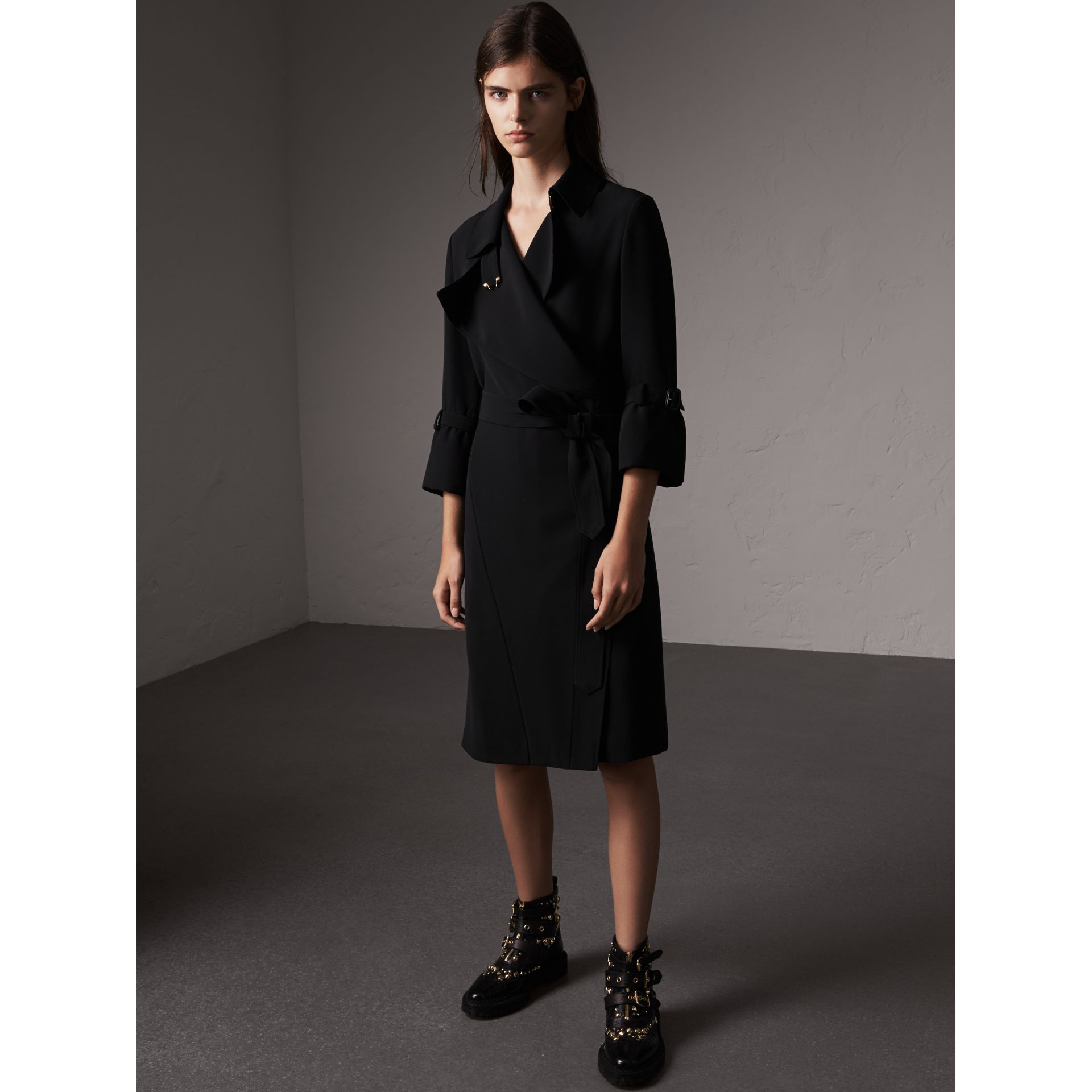 Silk Georgette Trench Wrap Dress in Black - Women | Burberry - gallery image 1