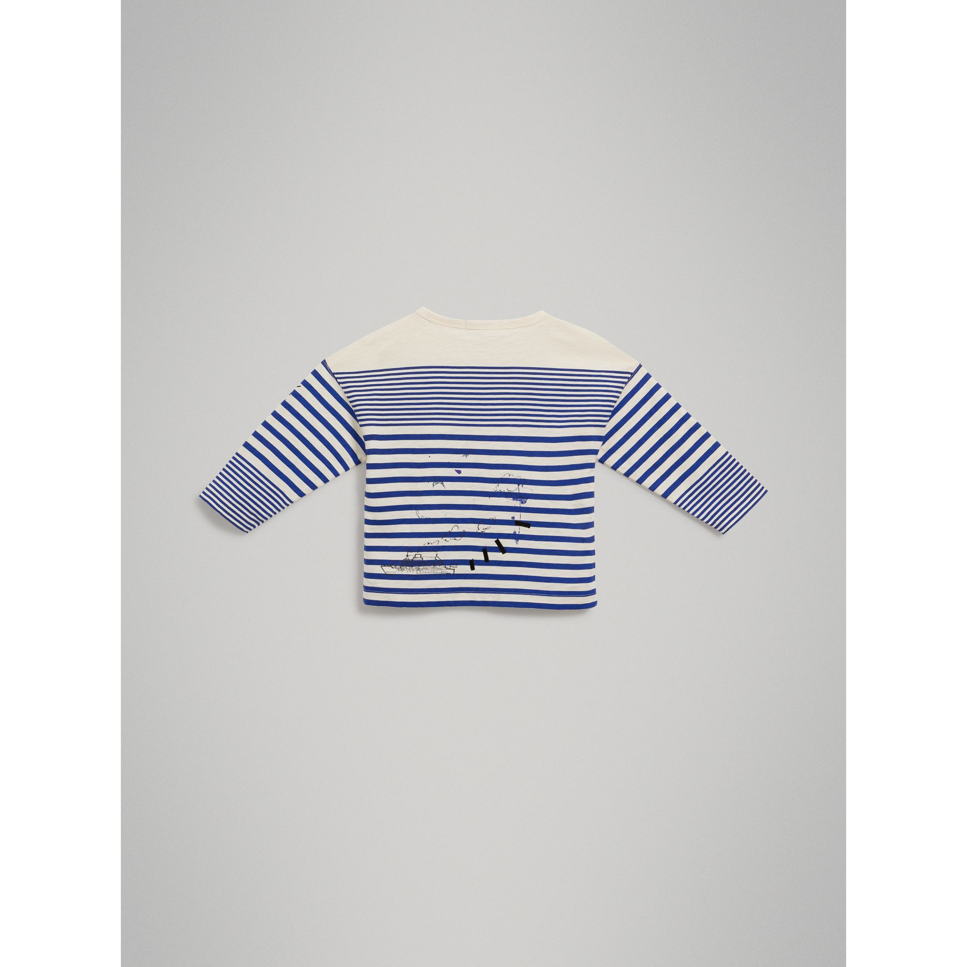 SW1 Print Striped Cotton Top in Bright Lapis/natural White - Boy | Burberry Singapore - gallery image 3