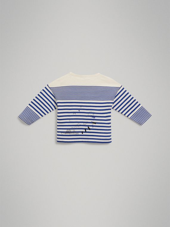 SW1 Print Striped Cotton Top in Bright Lapis/natural White - Boy | Burberry Singapore - cell image 3