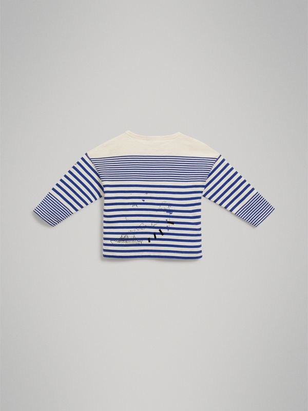 SW1 Print Striped Cotton Top in Bright Lapis/natural White | Burberry - cell image 3