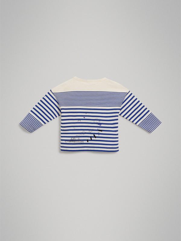 Top in cotone a righe con stampa SW1 (Lapislazzulo Intenso/bianco Naturale) - Bambino | Burberry - cell image 3