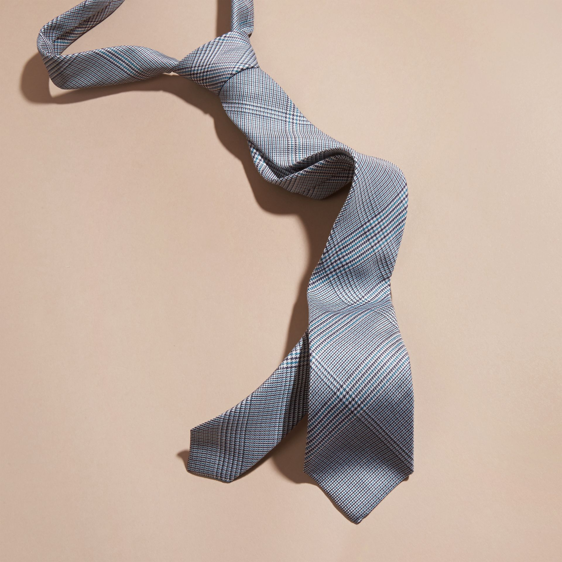 Eucalyptus green Slim Cut Check Cotton Silk Tie Eucalyptus Green - gallery image 3