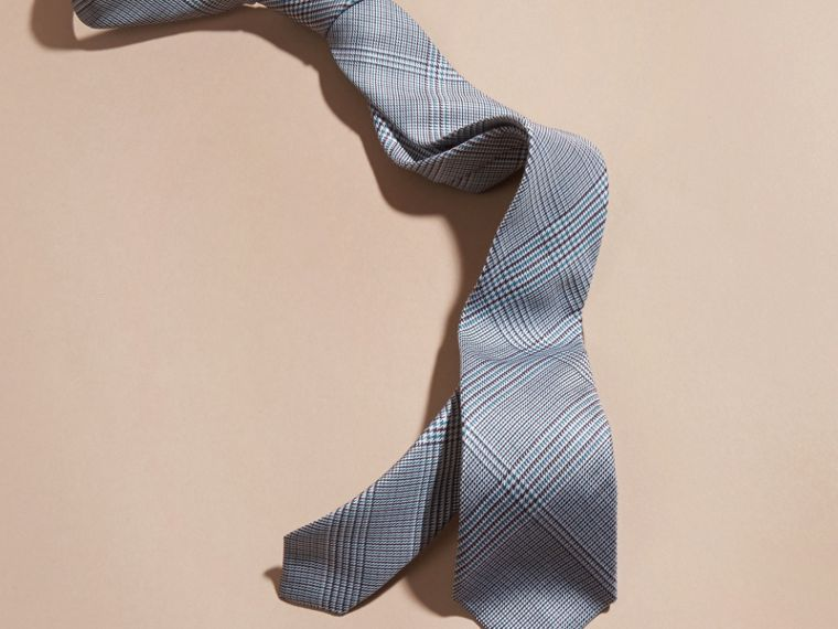 Eucalyptus green Slim Cut Check Cotton Silk Tie Eucalyptus Green - cell image 2
