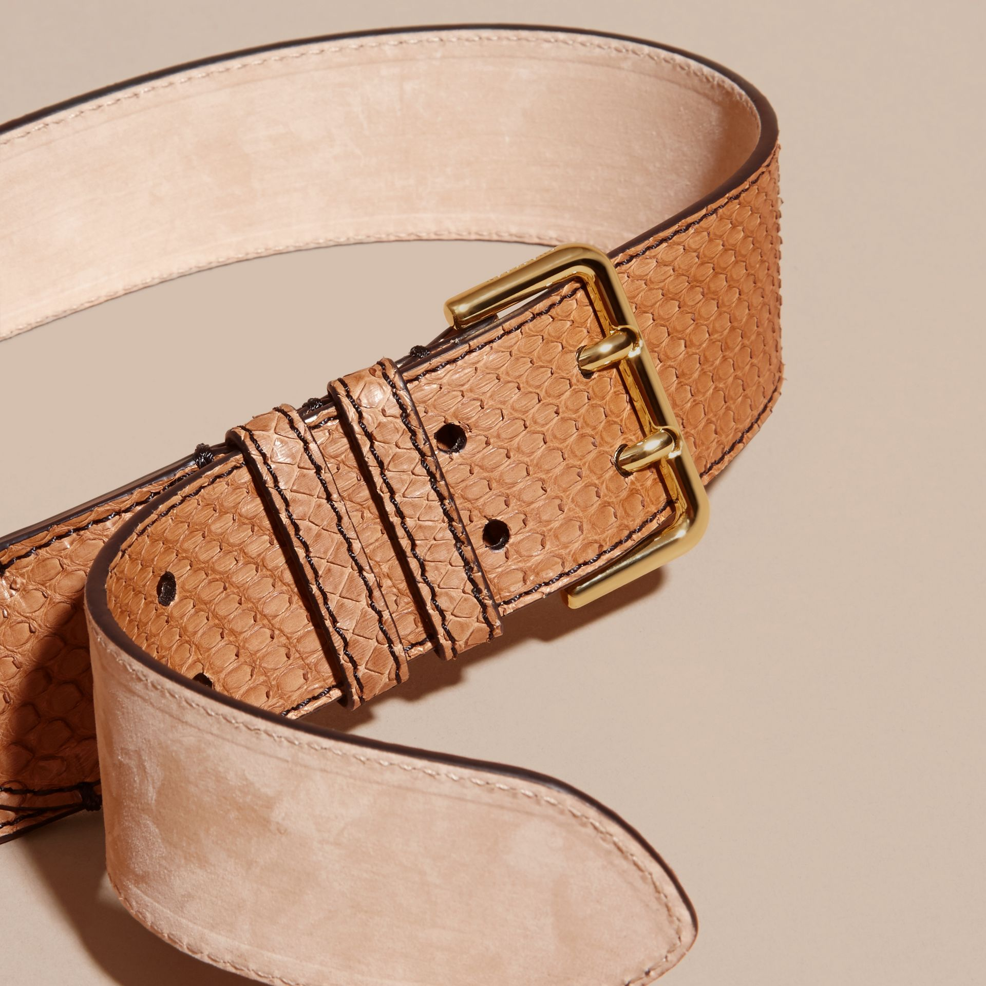 Python Belt in Camel - Women | Burberry - gallery image 2