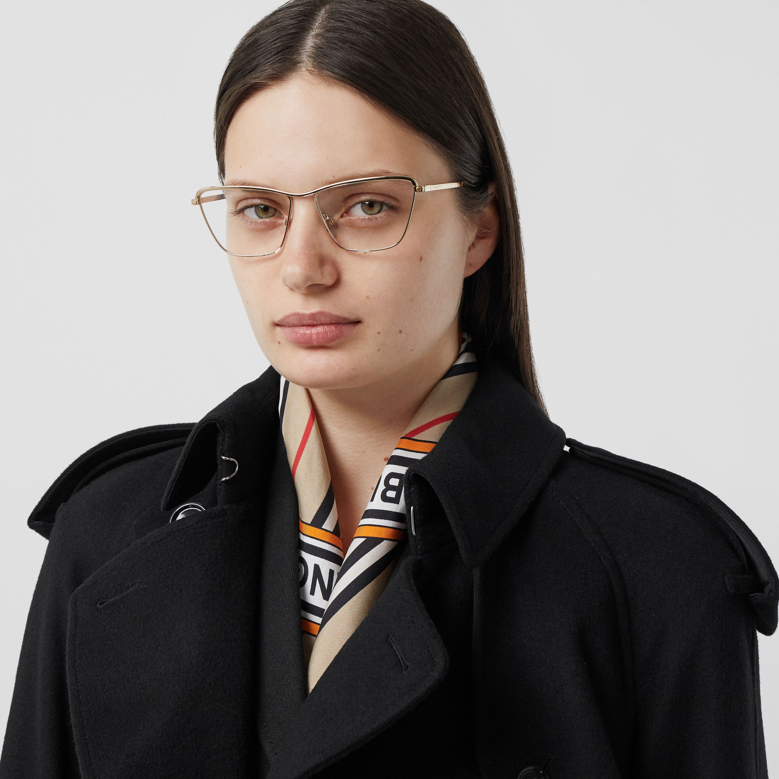 Rectangular Optical Frames in Light Gold - Women | Burberry - 3