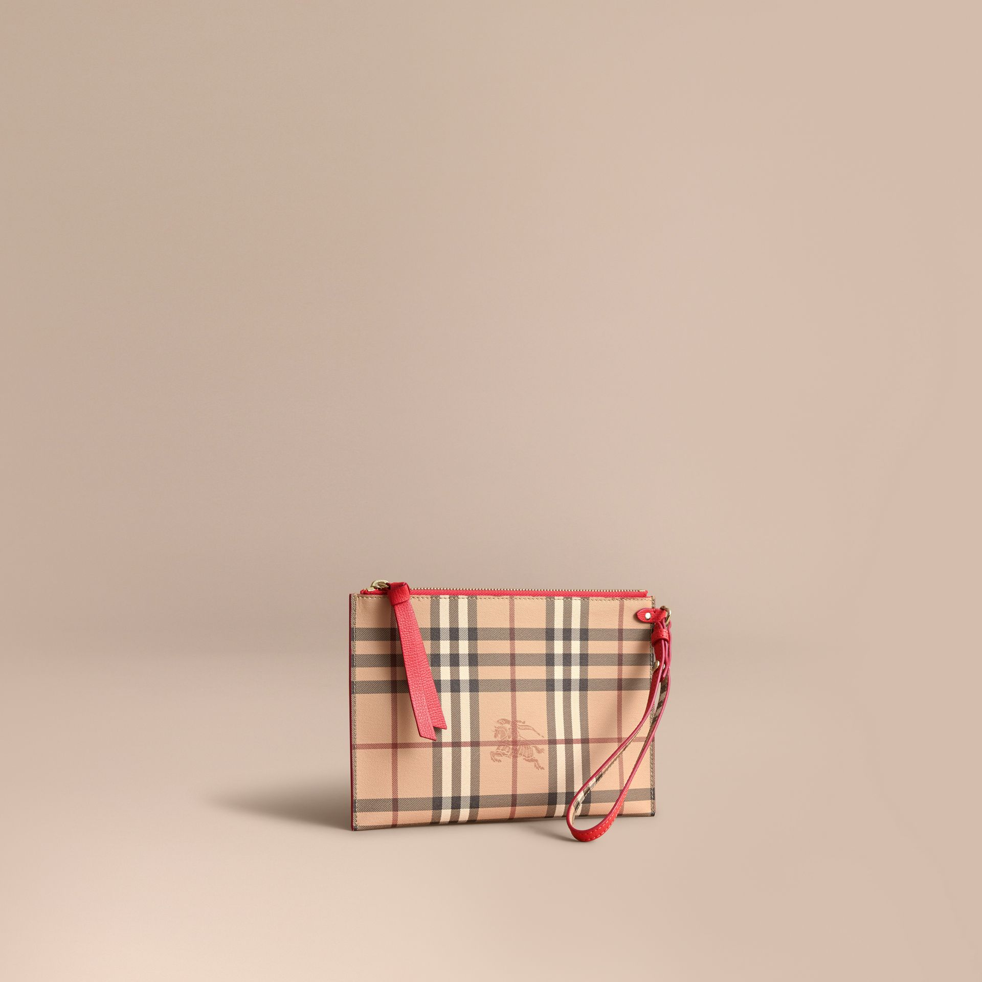Haymarket Check and Leather Pouch - Women | Burberry - gallery image 1