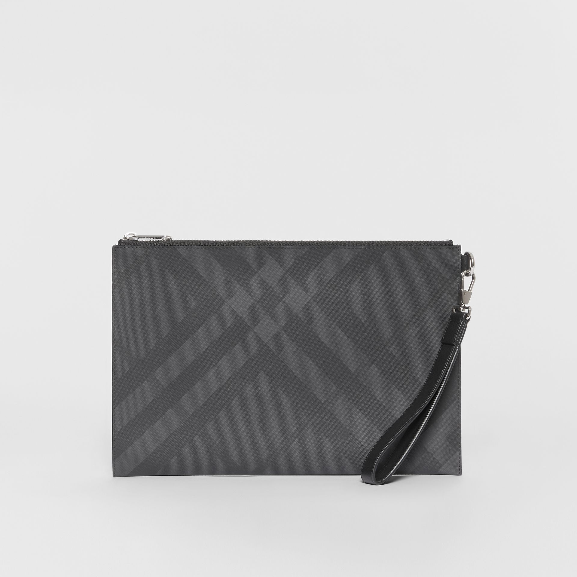 London Check and Leather Zip Pouch in Dark Charcoal - Men | Burberry United States - gallery image 6