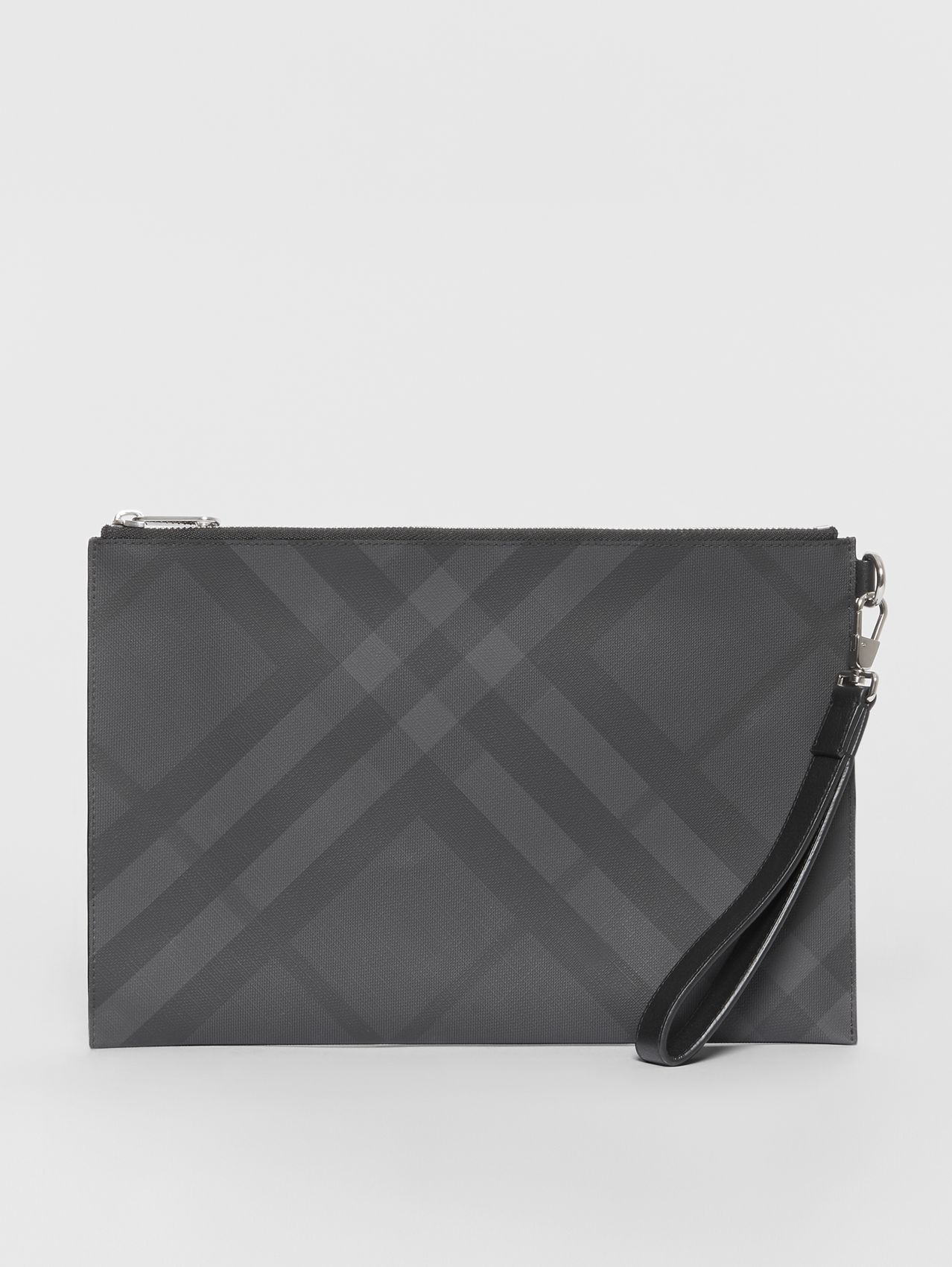 London Check and Leather Zip Pouch in Dark Charcoal