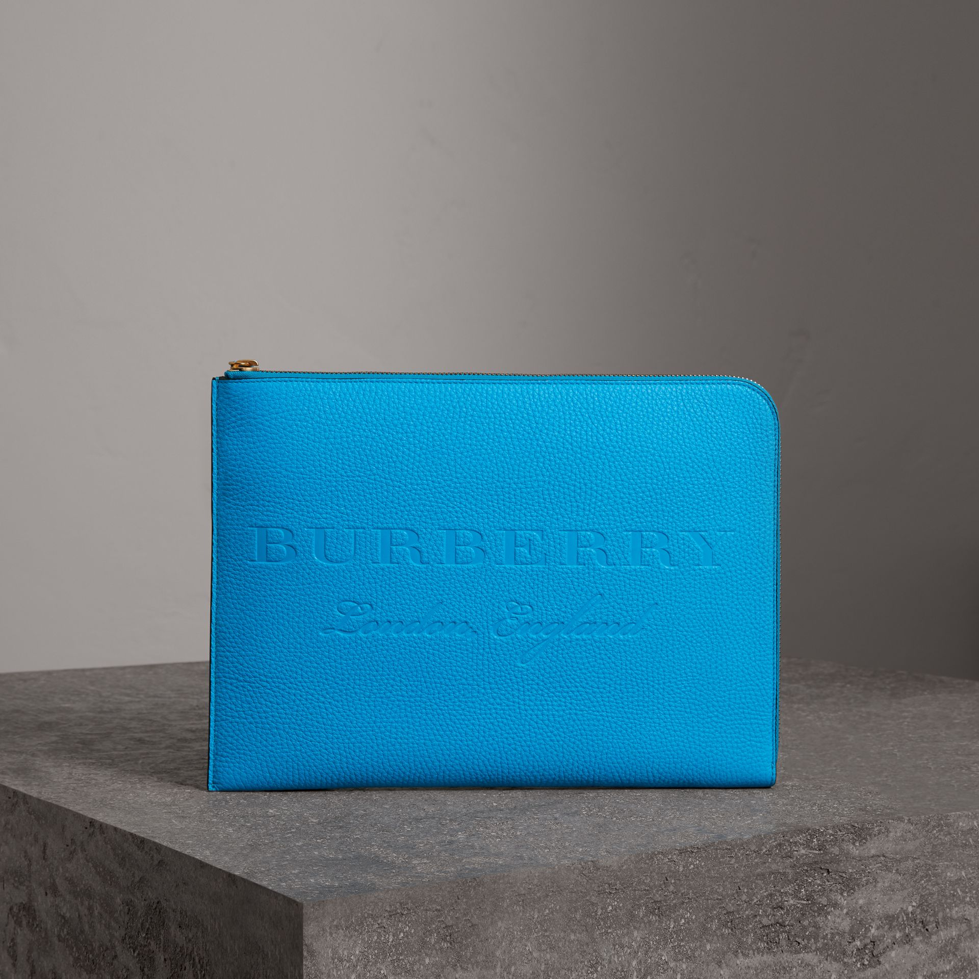 Embossed Leather Document Case in Neon Blue - Men | Burberry United Kingdom - gallery image 0