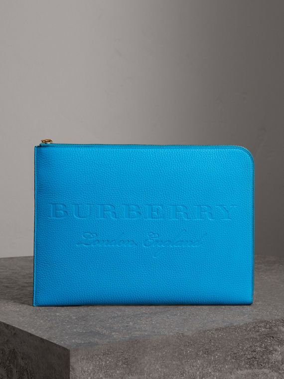 Embossed Leather Document Case in Neon Blue