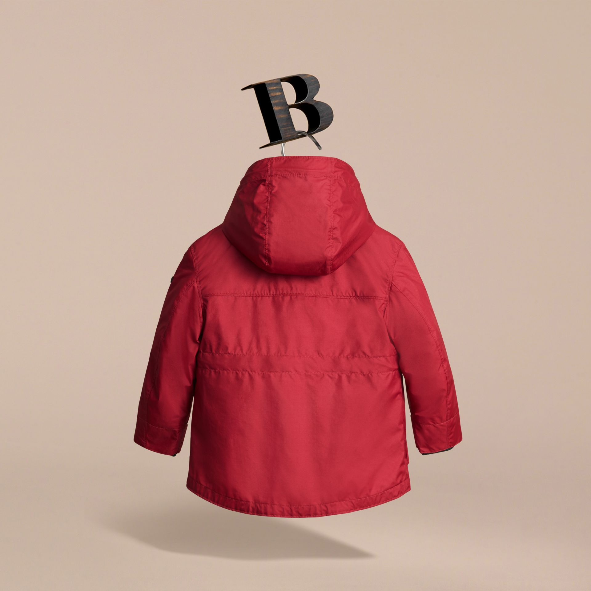 Hooded Field Jacket with Detachable Hooded Warmer in Parade Red - Boy | Burberry - gallery image 4
