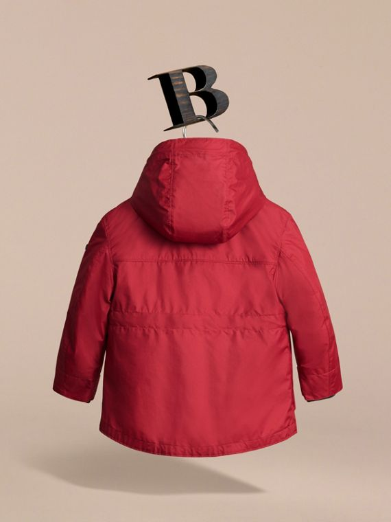 Hooded Field Jacket with Detachable Hooded Warmer in Parade Red - Boy | Burberry - cell image 3