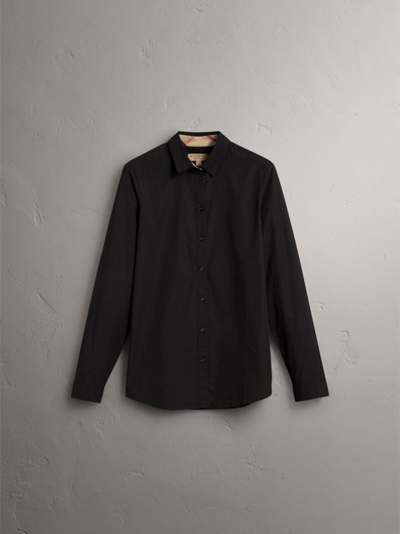 Check Detail Stretch-cotton Shirt - Women | Burberry - cell image 3