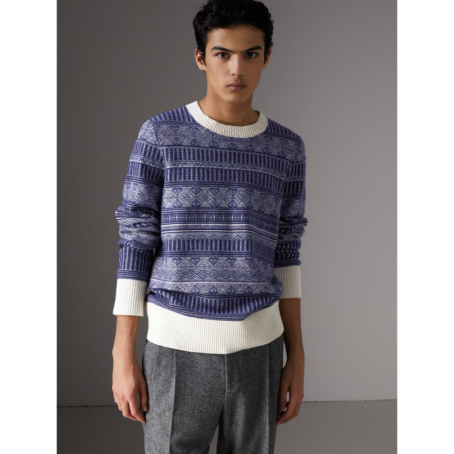 Fair Isle Wool Cashmere Sweater in Bright Navy - Men | Burberry Australia - gallery image 0