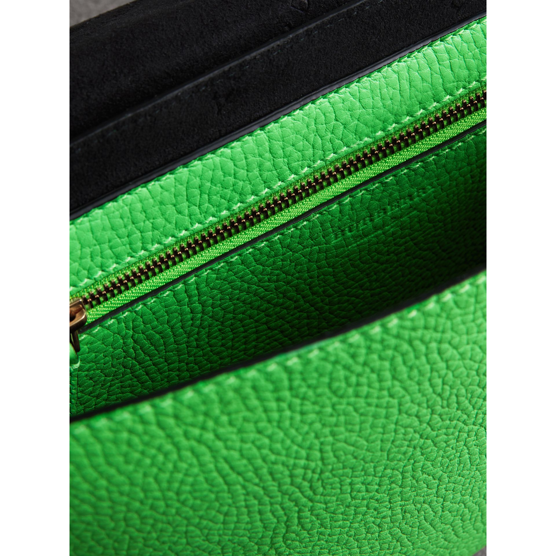 Medium Embossed Leather Messenger Bag in Neon Green | Burberry - gallery image 7