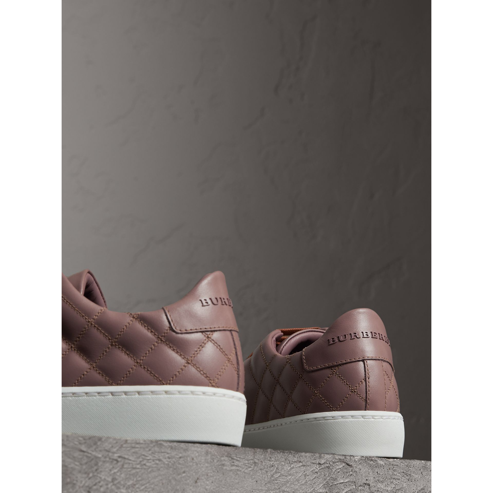 Check-quilted Leather Trainers in Ivory Pink - Women | Burberry United Kingdom - gallery image 3