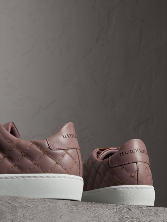 Check-quilted Leather Trainers in Ivory Pink - Women | Burberry - cell image 2