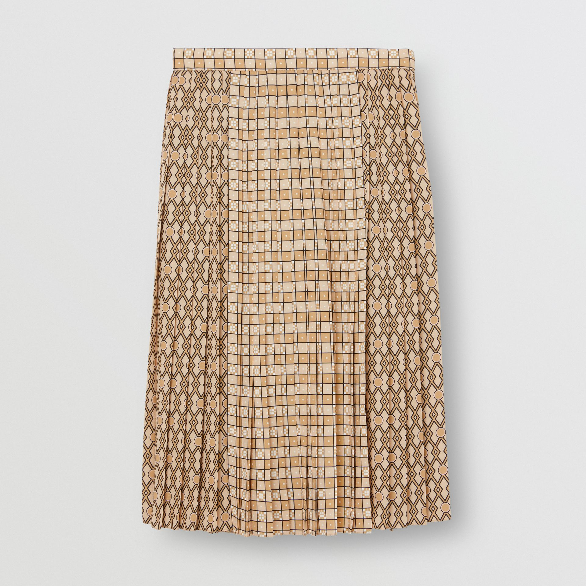 Contrast Graphic Print Pleated Skirt in Latte - Women | Burberry - gallery image 3