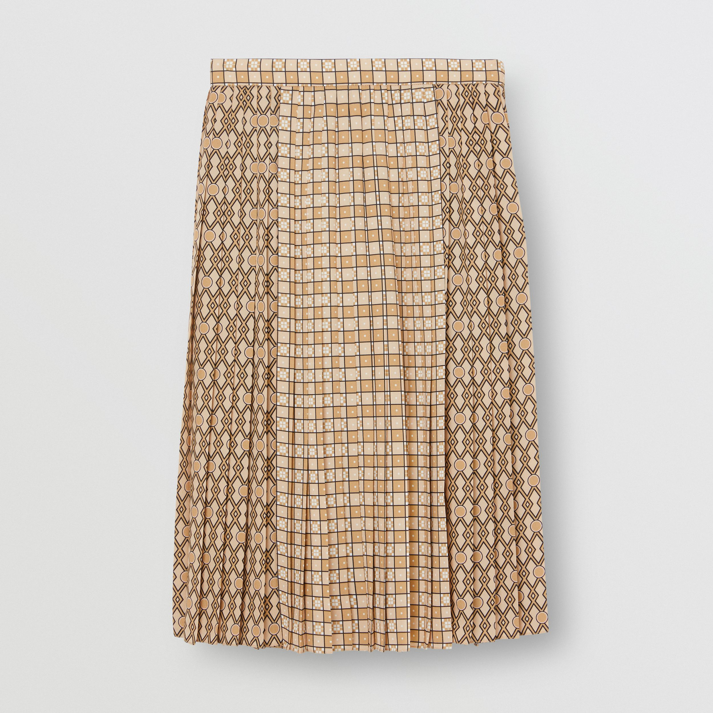 Contrast Graphic Print Pleated Skirt in Latte | Burberry Singapore - 4