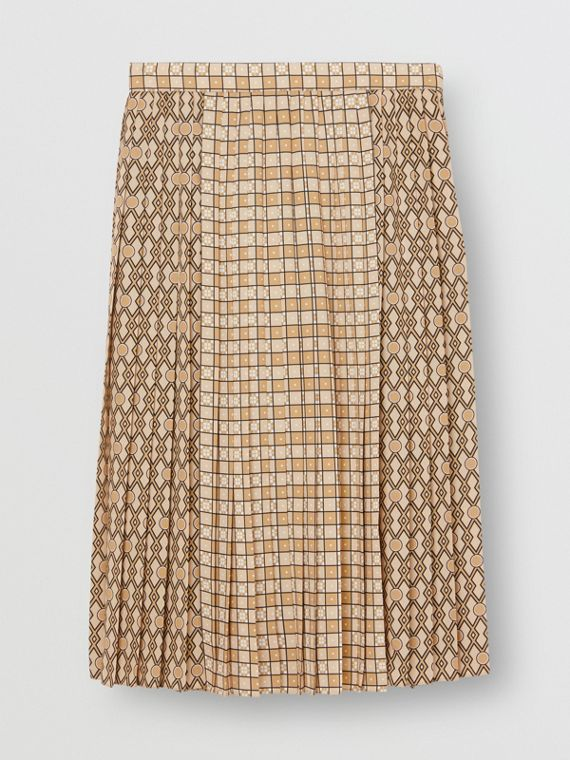 Contrast Graphic Print Pleated Skirt in Latte