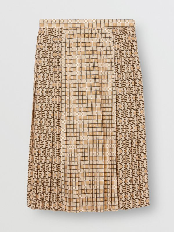 Contrast Graphic Print Pleated Skirt in Latte - Women | Burberry - cell image 3