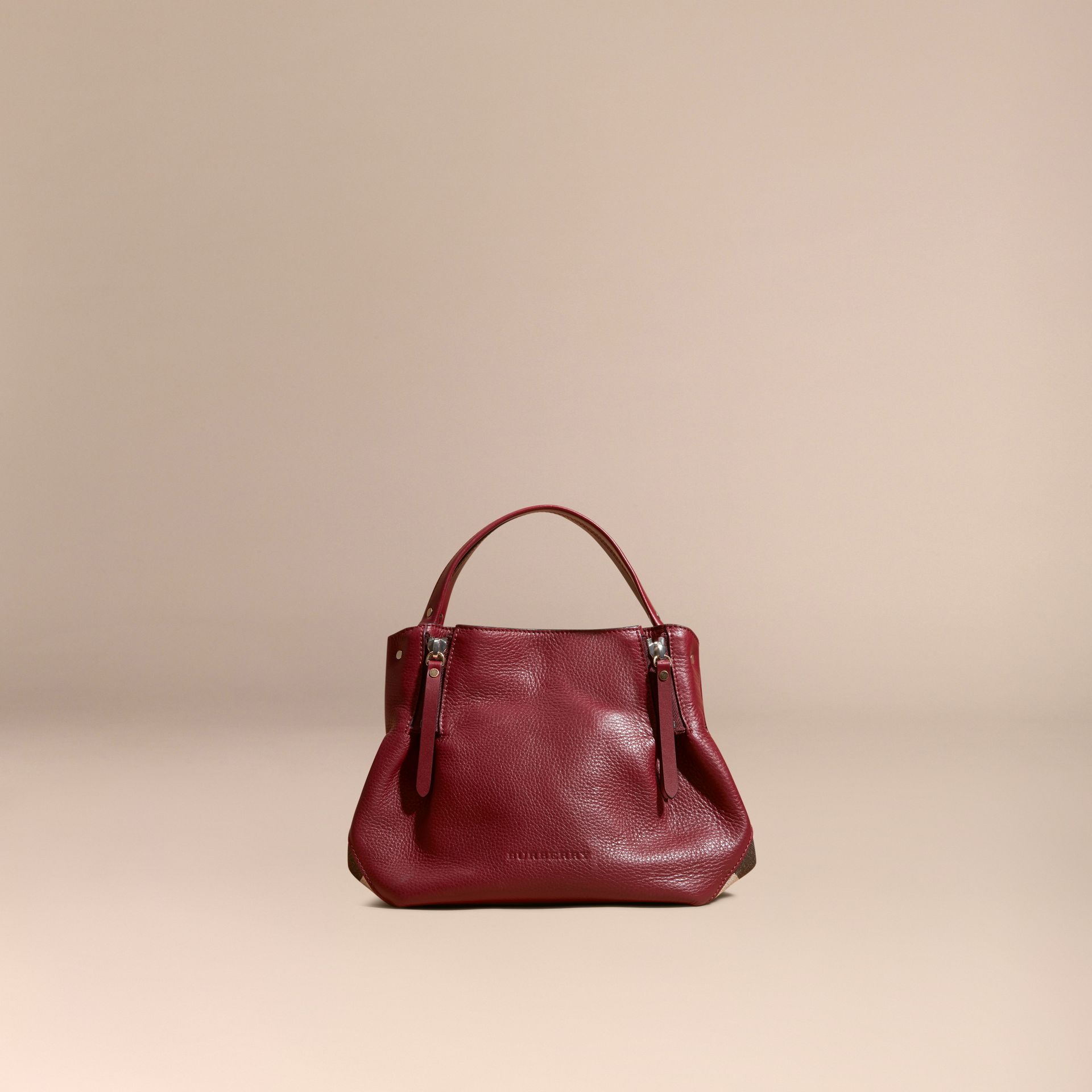 Burgundy red Small Check Detail Leather Tote Bag - gallery image 8
