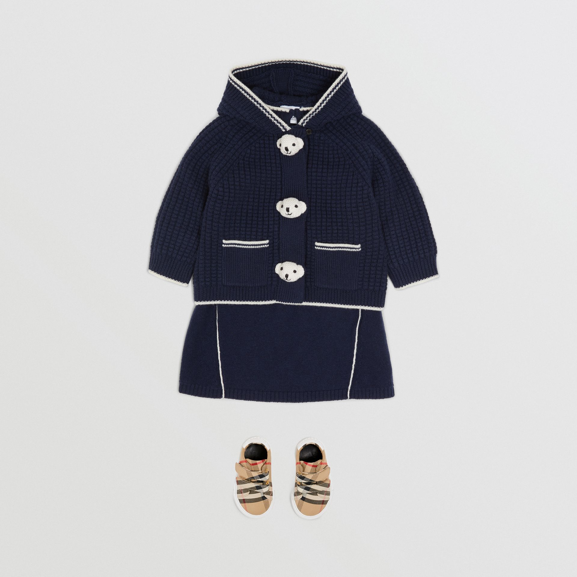 Thomas Bear Detail Wool Cashmere Hooded Jacket in Navy - Children | Burberry United States - gallery image 2