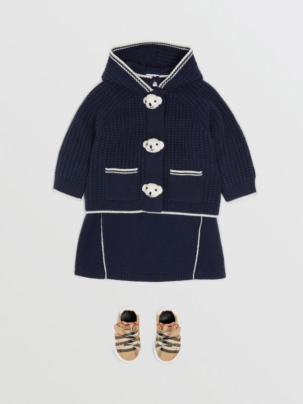 Thomas Bear Detail Wool Cashmere Hooded Jacket in Navy - Children | Burberry United Kingdom - cell image 2