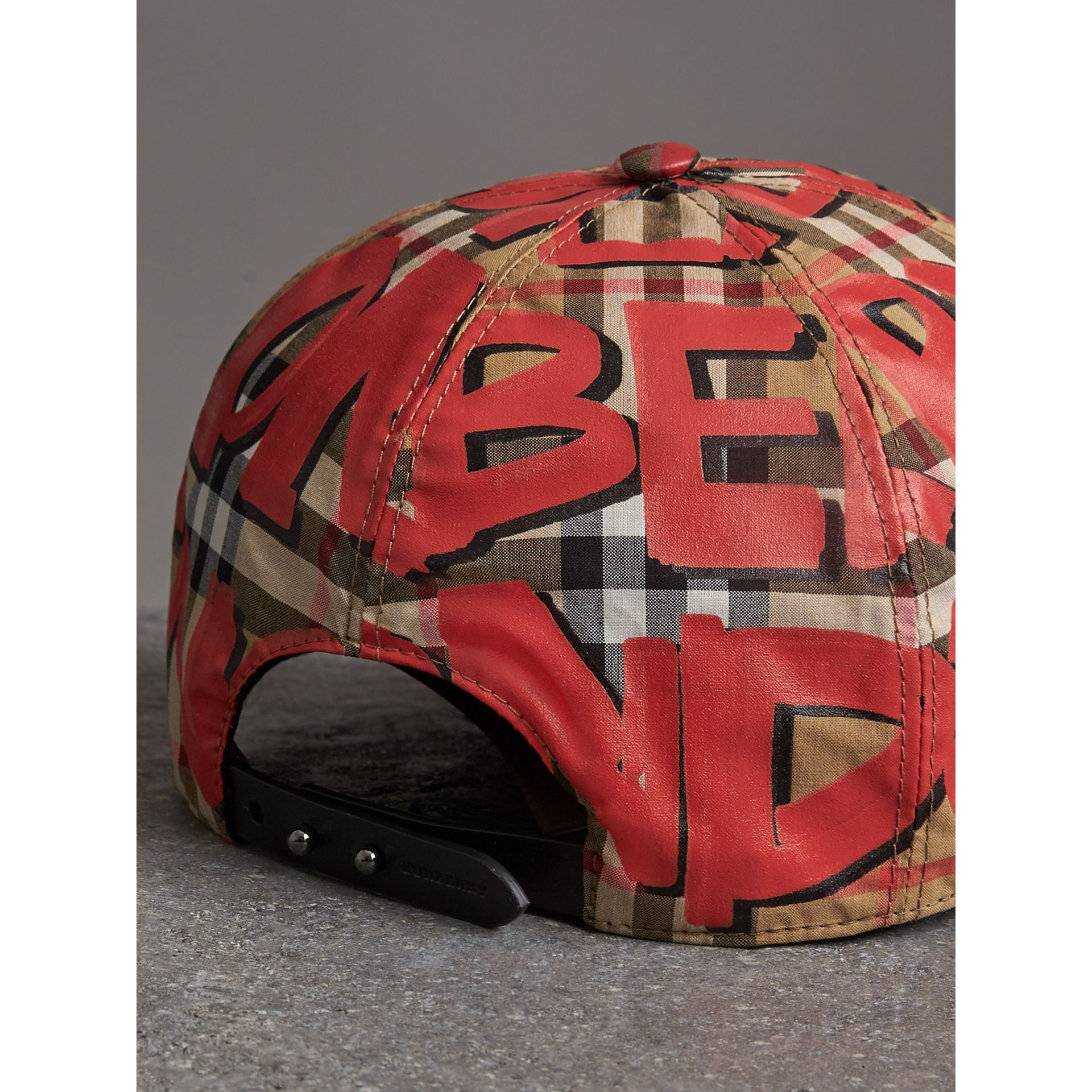 Graffiti Print Vintage Check Baseball Cap in Red | Burberry Australia - gallery image 4